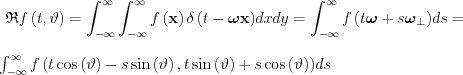 $ \mathfrak{R}f\left ( t,\vartheta \right )=\int_{-\infty }^{\infty }\int_{-\infty }^{\infty }